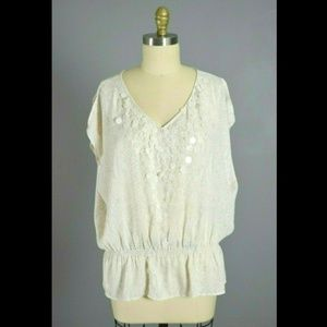 Cache Ivory Snake Print Paillettes Blouse